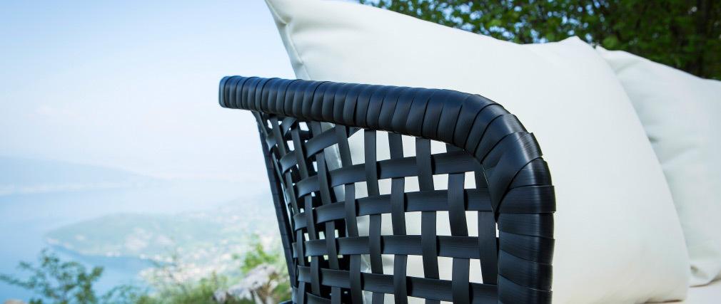 Panchina da giardino in fili di resina Nero MONACO