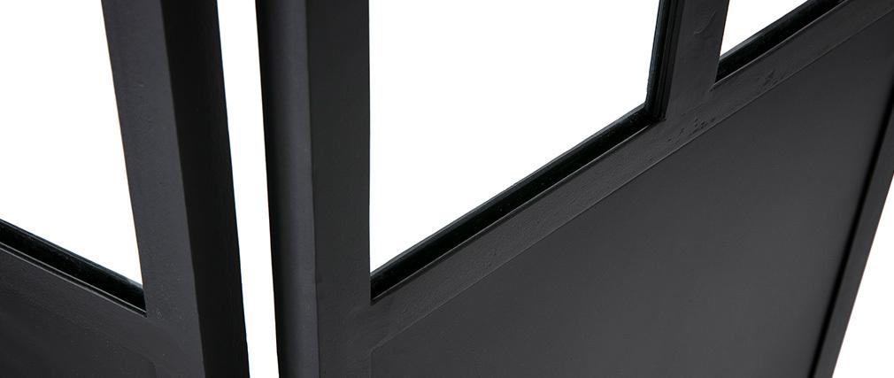 Paravento 4 ventagli in metallo nero e vetro RACK