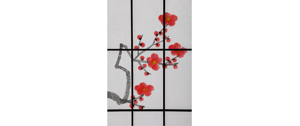 Paravento giapponese in legno nero e carta SAKURA