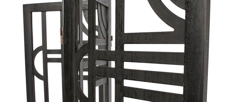Paravento in legno nero con motivi geometrici H170 cm KEOPS