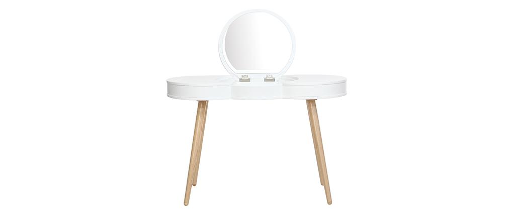 Pettiniera scandinava in legno Bianco con specchio rotondo NUBE