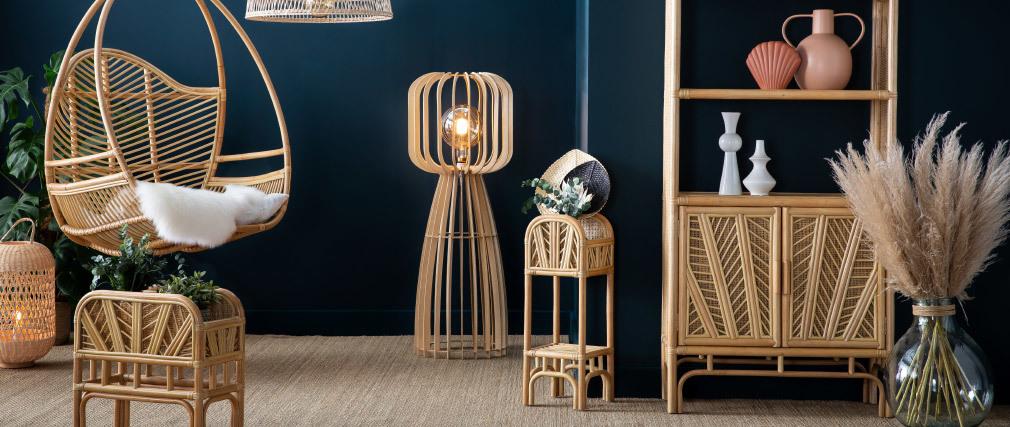 Piantana di design in legno chiaro H125 cm FIJI