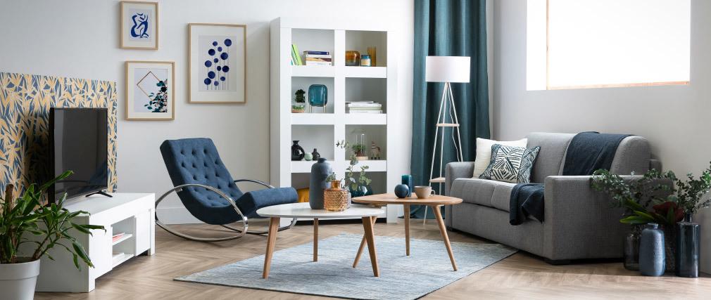 Piantana di design in metallo bianco e legno YIN