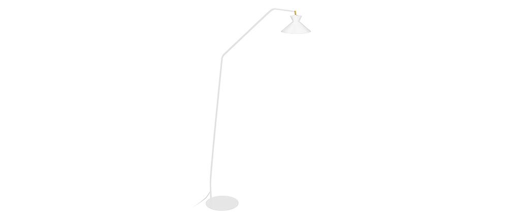 Piantana lampada da lettura design in acciaio bianco LEEDS