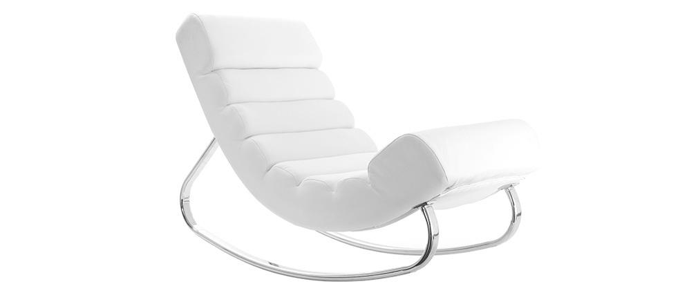 Poltrona a dondolo design bianca TAYLOR