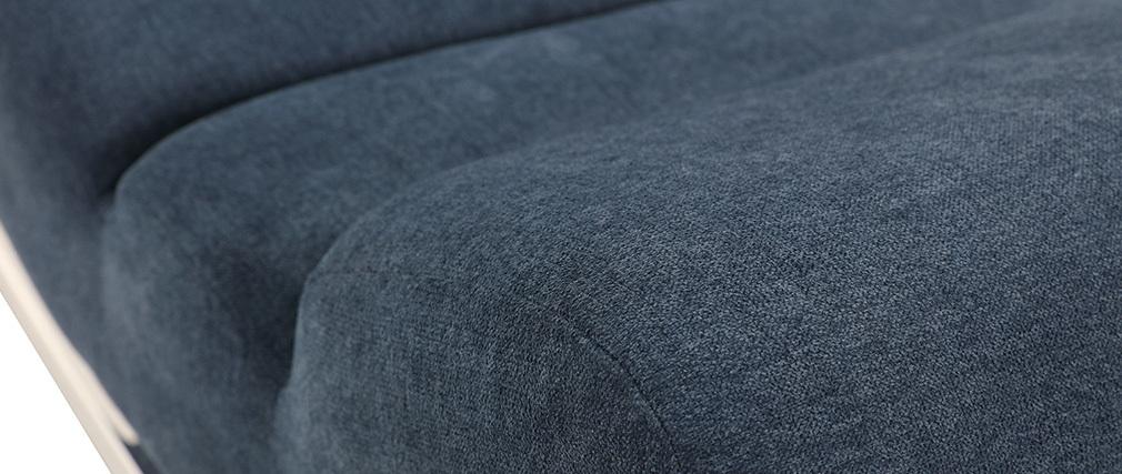 Poltrona a dondolo design effetto velluto blu TAYLOR