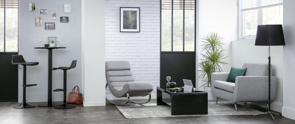 Poltrona a dondolo design in tessuto grigio chiaro TAYLOR