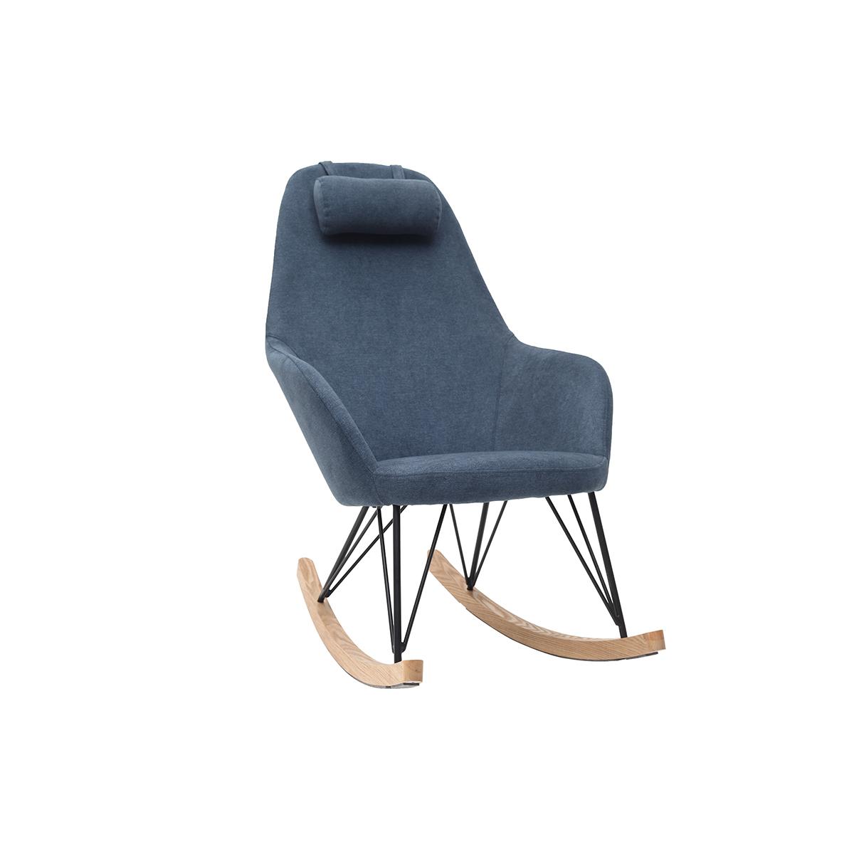 Poltrona a dondolo in tessuto velluto blu piedi in metallo e legno JHENE