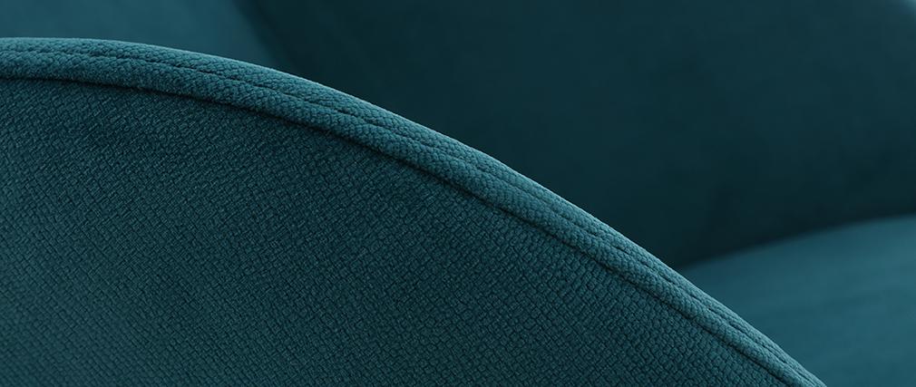 Poltrona a dondolo scandinava in velluto blu petrolio JHENE
