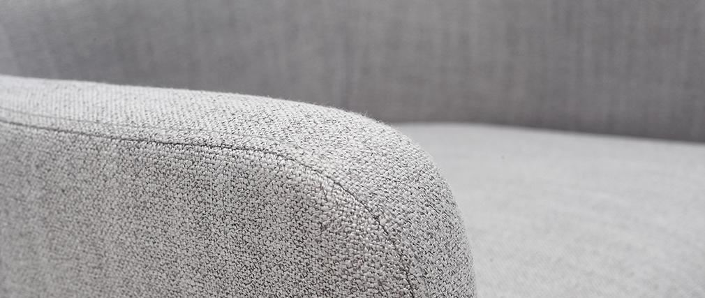 Poltrona classica in tessuto Grigio chiaro piedi in legno chiaro LAZARRE