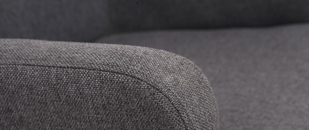 Poltrona classica in tessuto Grigio scuro piedi in legno chiaro RODIN