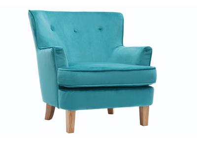 Poltrona classica, in velluto, colore: Blu anatra, modello: CEZANNE