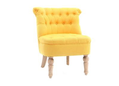 Poltrona crapaud classica, in tessuto, colore: giallo, modello: ODEON