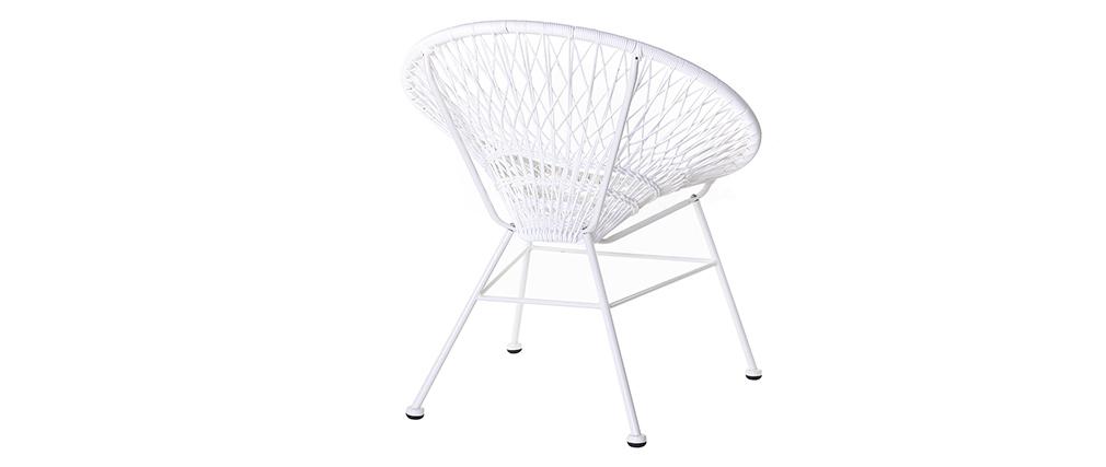 Poltrona da giardino, di design, in fili di resina, colore: Bianco, modello: ARANGO