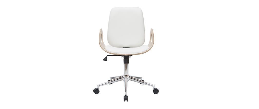 Poltrona da scrivania design bianco e legno chiaro GLORY