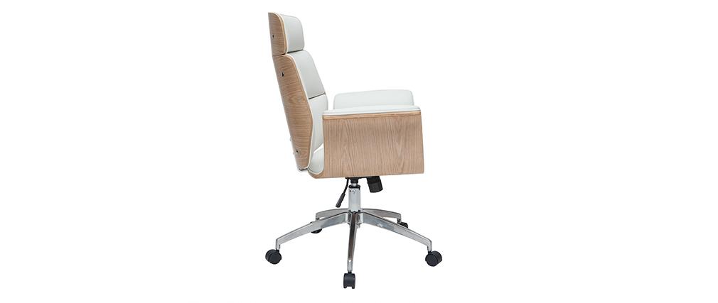 Poltrona da ufficio bianca e legno chiaro ELON