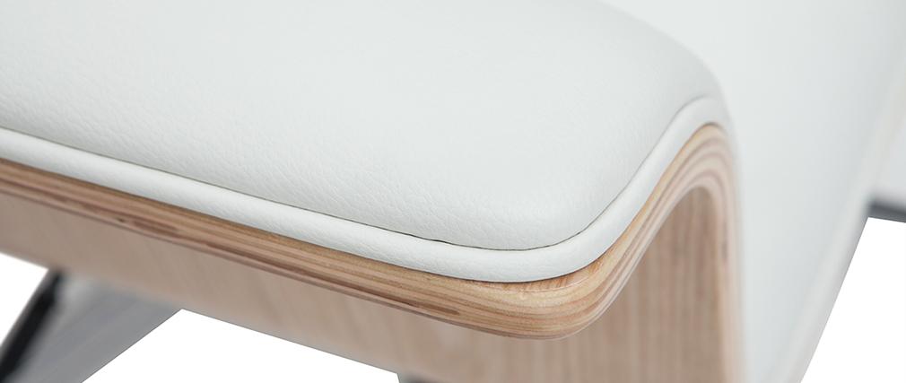 Poltrona da ufficio bianca e legno chiaro ELON - Miliboo