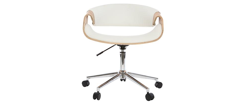 Poltrona da ufficio design in poliuretano Bianco / Legno chiaro ARAMIS