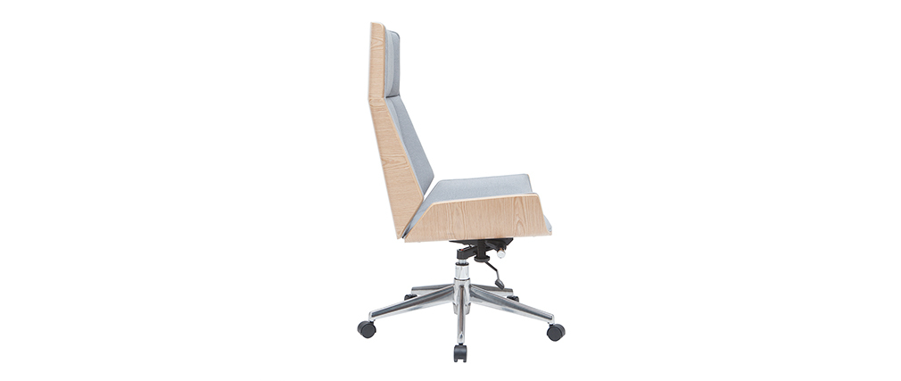 Poltrona da ufficio design legno chiaro e grigio CURVED