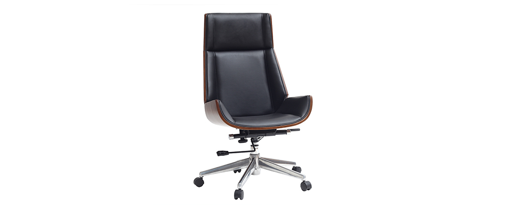 Poltrona da ufficio design legno scuro e nero CURVED