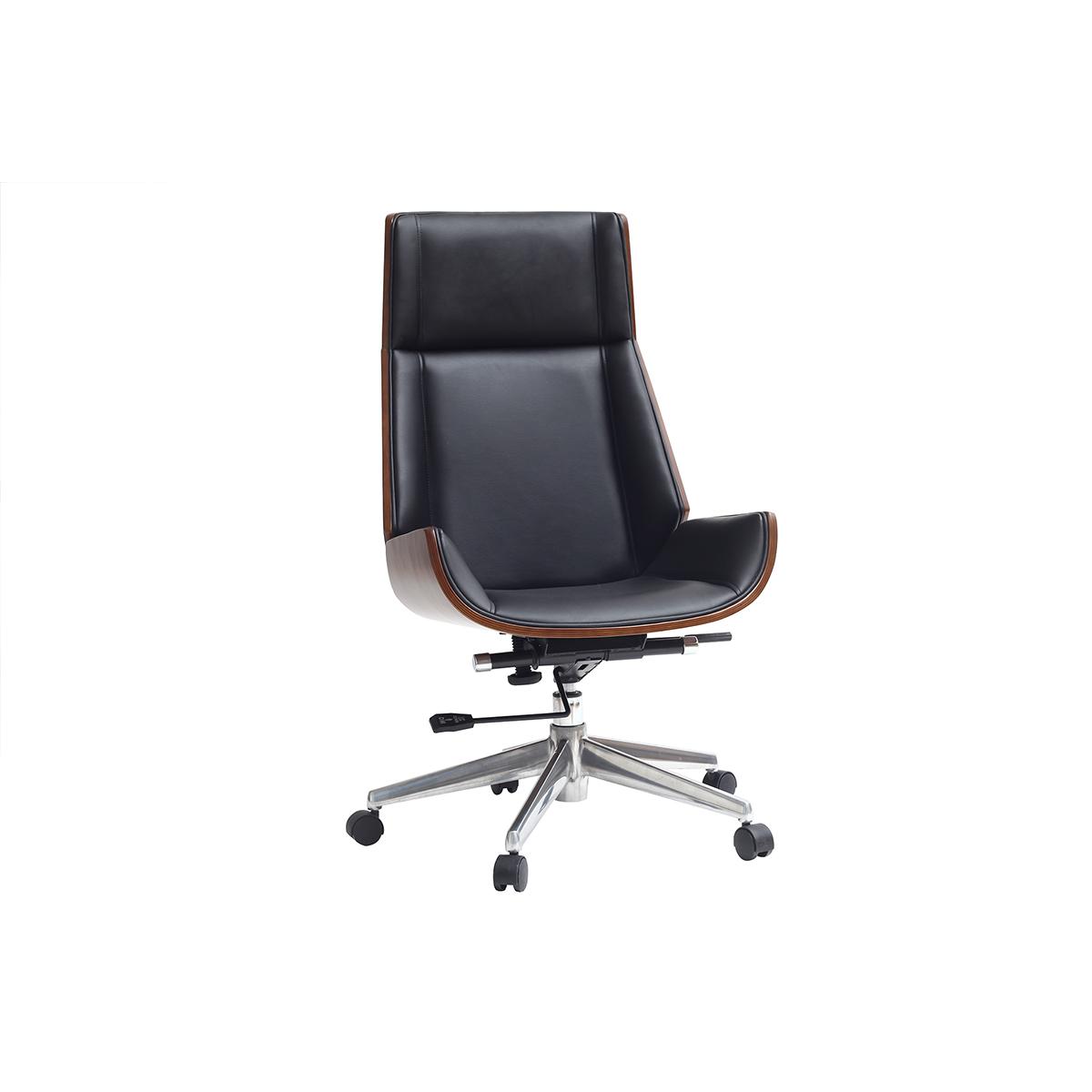Poltrona da ufficio design legno scuro e nero curved for Design legno ufficio