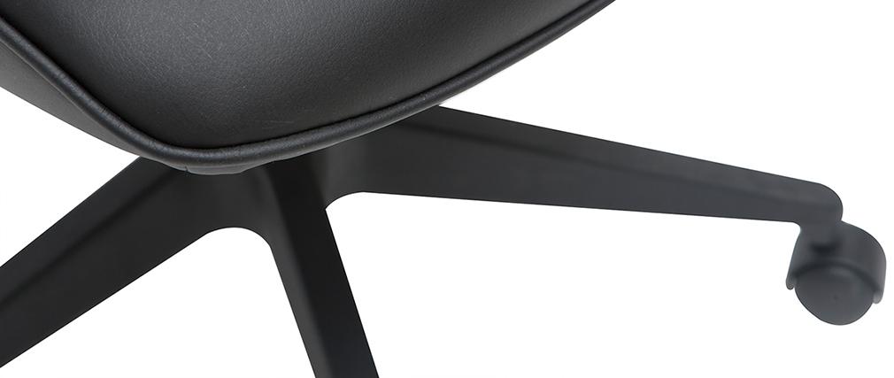 Poltrona da ufficio di design in metallo e tessuto nero MARSHALL