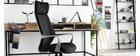 Poltrona da ufficio girevole nera e grigia POCUS