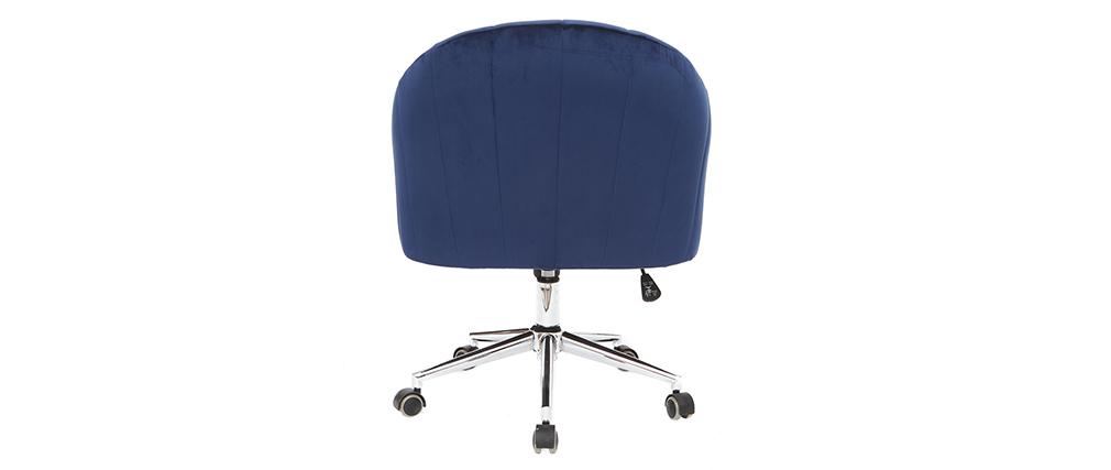 Poltrona da ufficio in velluto Blu scuro ROMI