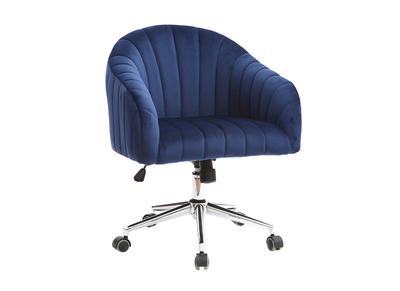 Poltrona da ufficio, in velluto, colore: Blu scuro, modello: ROMI