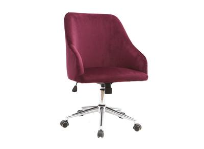 Poltrona da ufficio, in velluto, colore: Bordeaux, modello: SCARLETT