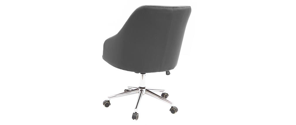 Poltrona da ufficio in velluto grigio scuro SCARLETT