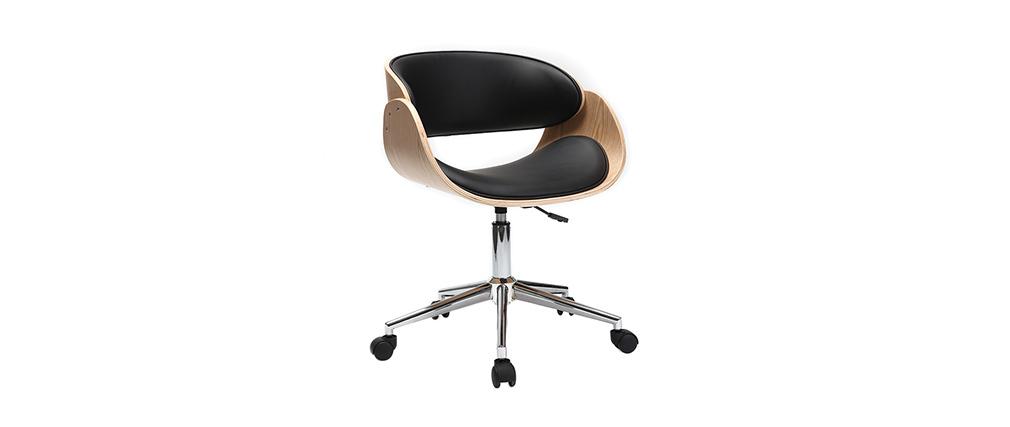 Poltrona design a rotelle nera e legno chiaro BENT