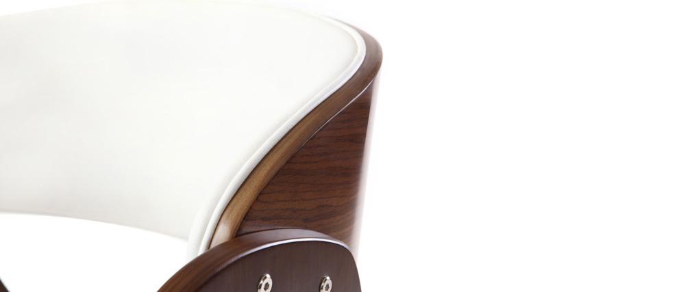 Poltrona design a rotelle nera e legno color noce BENT