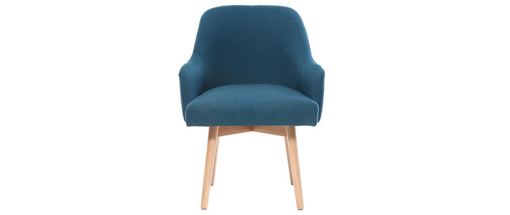 Poltrona design blu piedi legno chiaro MONA