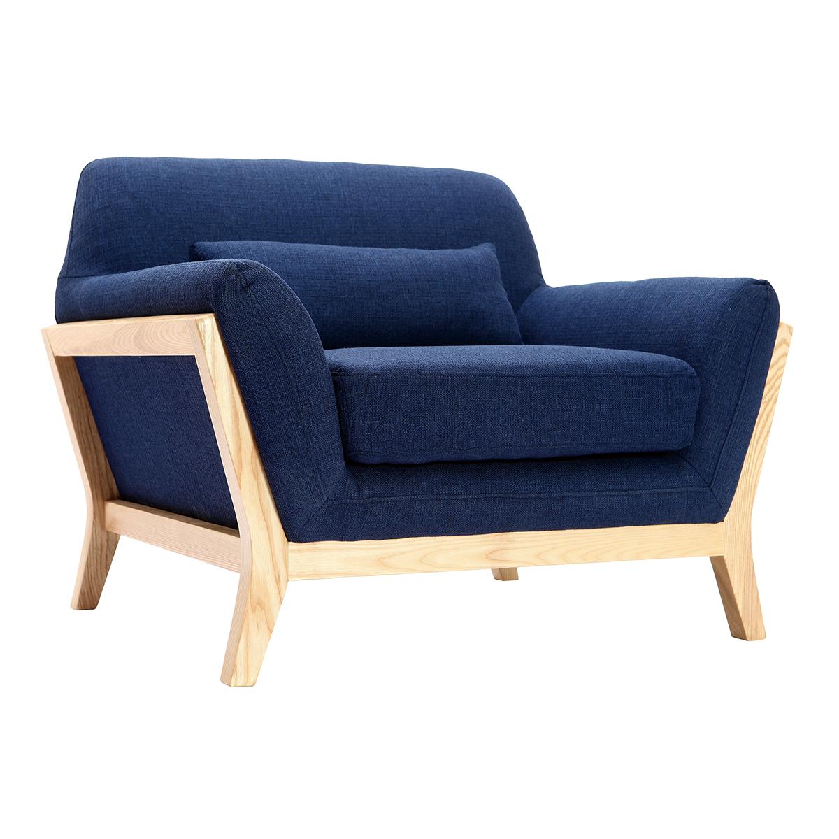 Poltrona design blu scuro piedi legno YOKO