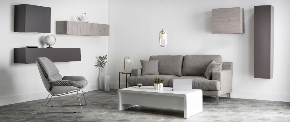 Poltrona design con scocca Bianco e tessuto Grigio KOKON