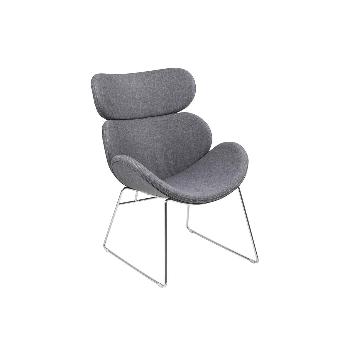 Poltrona design contemporaneo grigio chiaro GABRIEL