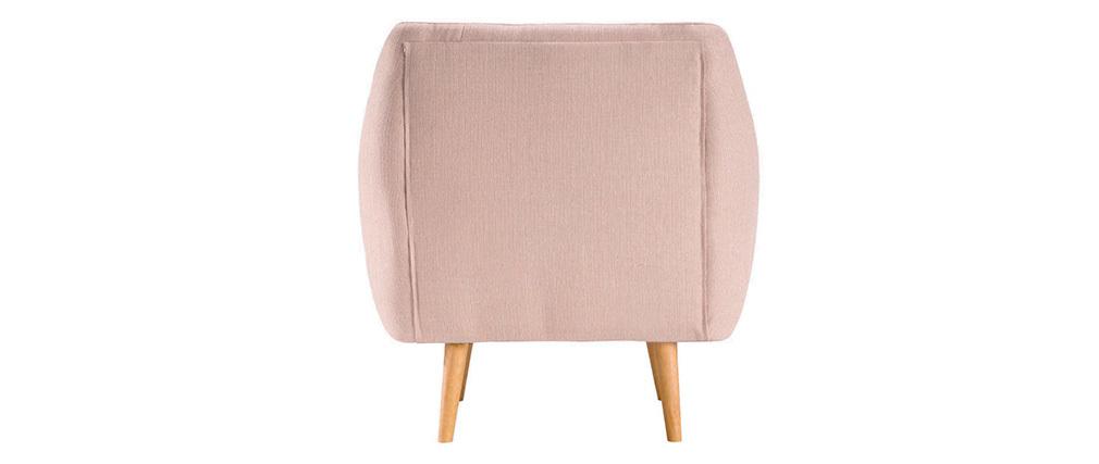 Poltrona design faggio e tessuto rosa pallido OLAF