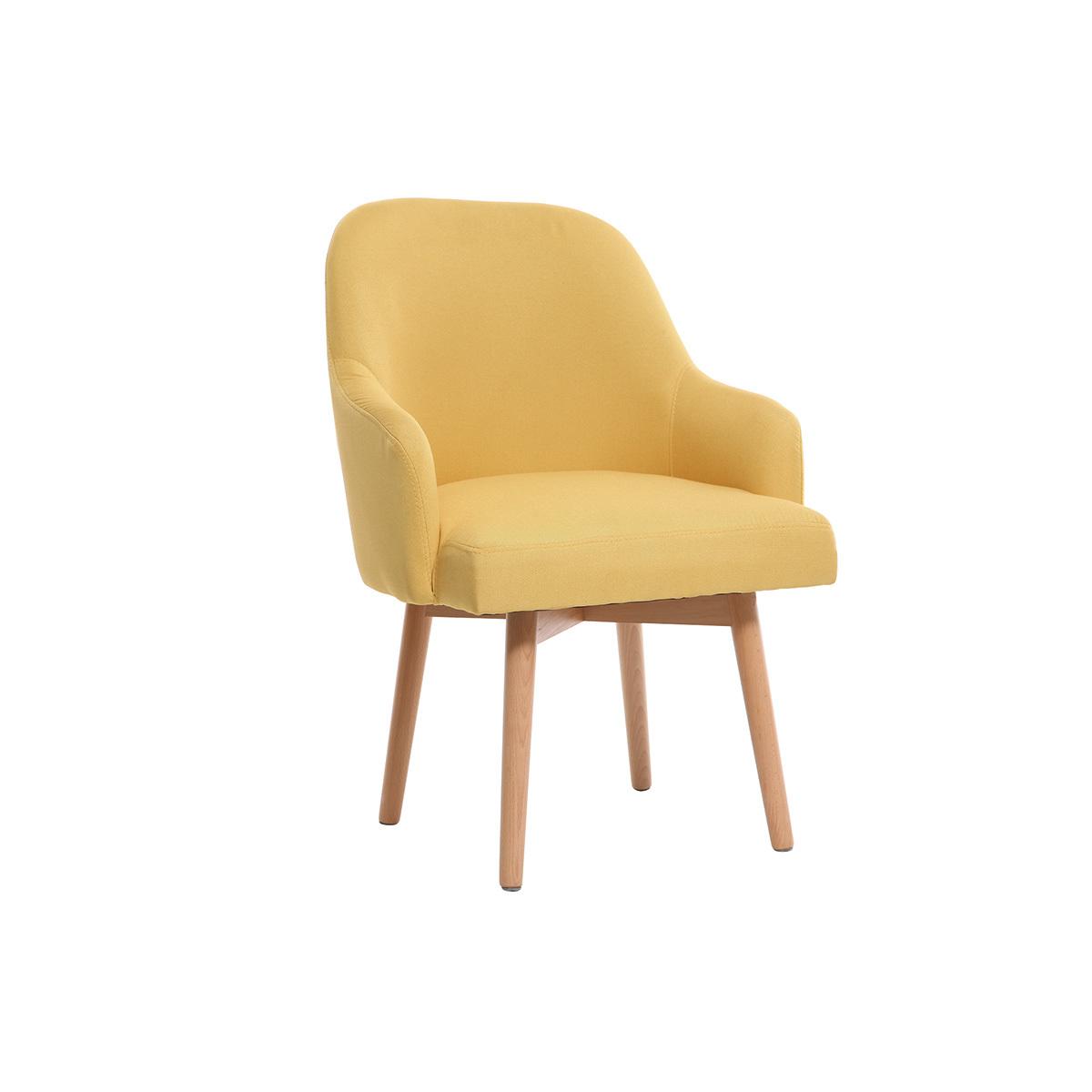 Poltrona design giallo piedi legno chiaro MONA