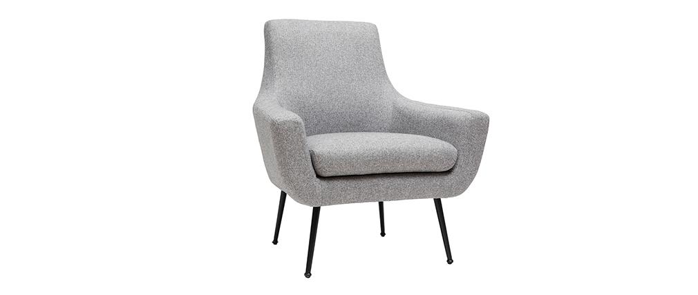 Poltrona design grigio chiaro e metallo nero MONTANA