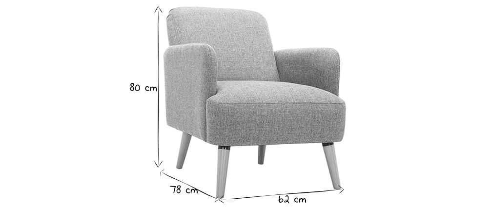 Poltrona design grigio chiaro e piedi legno ISKO