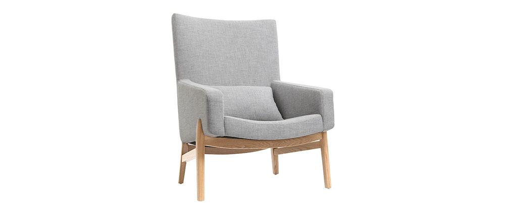 Poltrona design grigio gambe in legno KYOTO