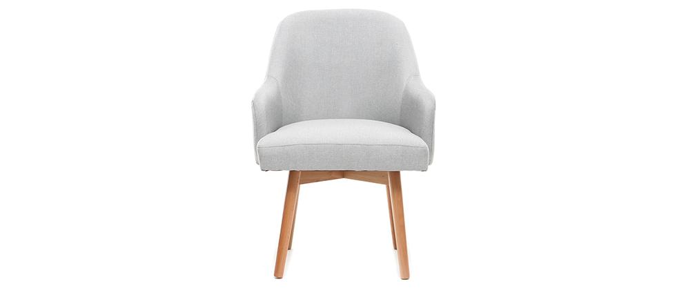 Poltrona design grigio piedi legno chiaro MONA