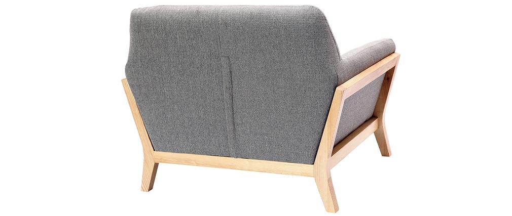 Poltrona design grigio piedi legno YOKO