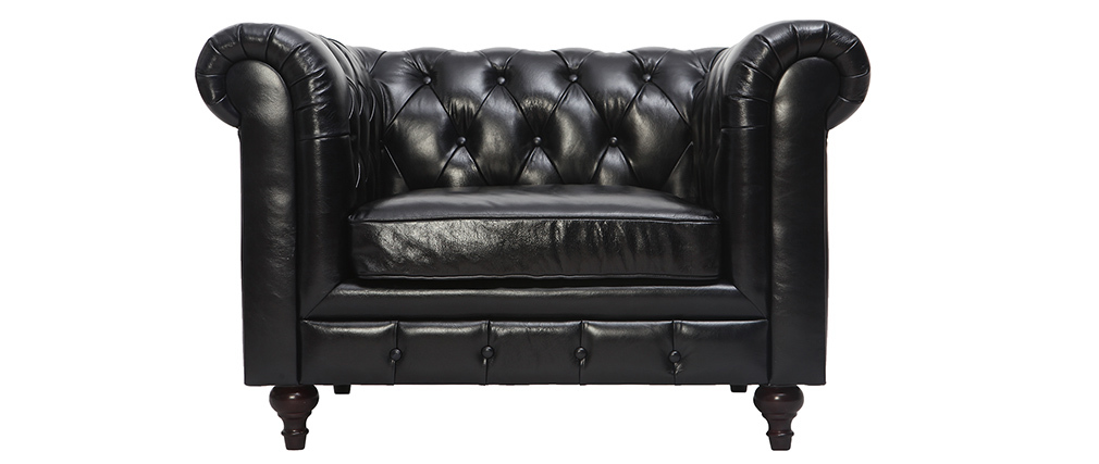 Poltrona design in pelle Nero CHESTERFIELD