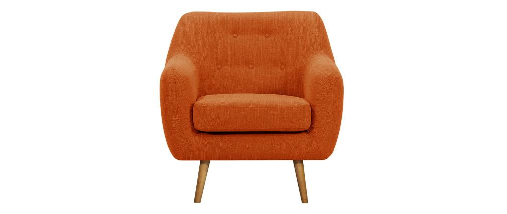 Poltrona design in tessuto arancione e piedi in legno chiaro OLAF