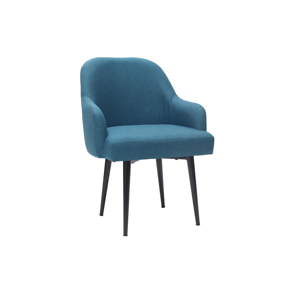 Poltrona design in tessuto blu anatra e piedi in metallo nero AMON