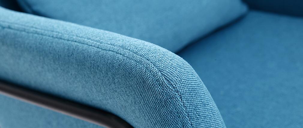 Poltrona design in tessuto blu anatra e struttura in metallo nero modello MONROE