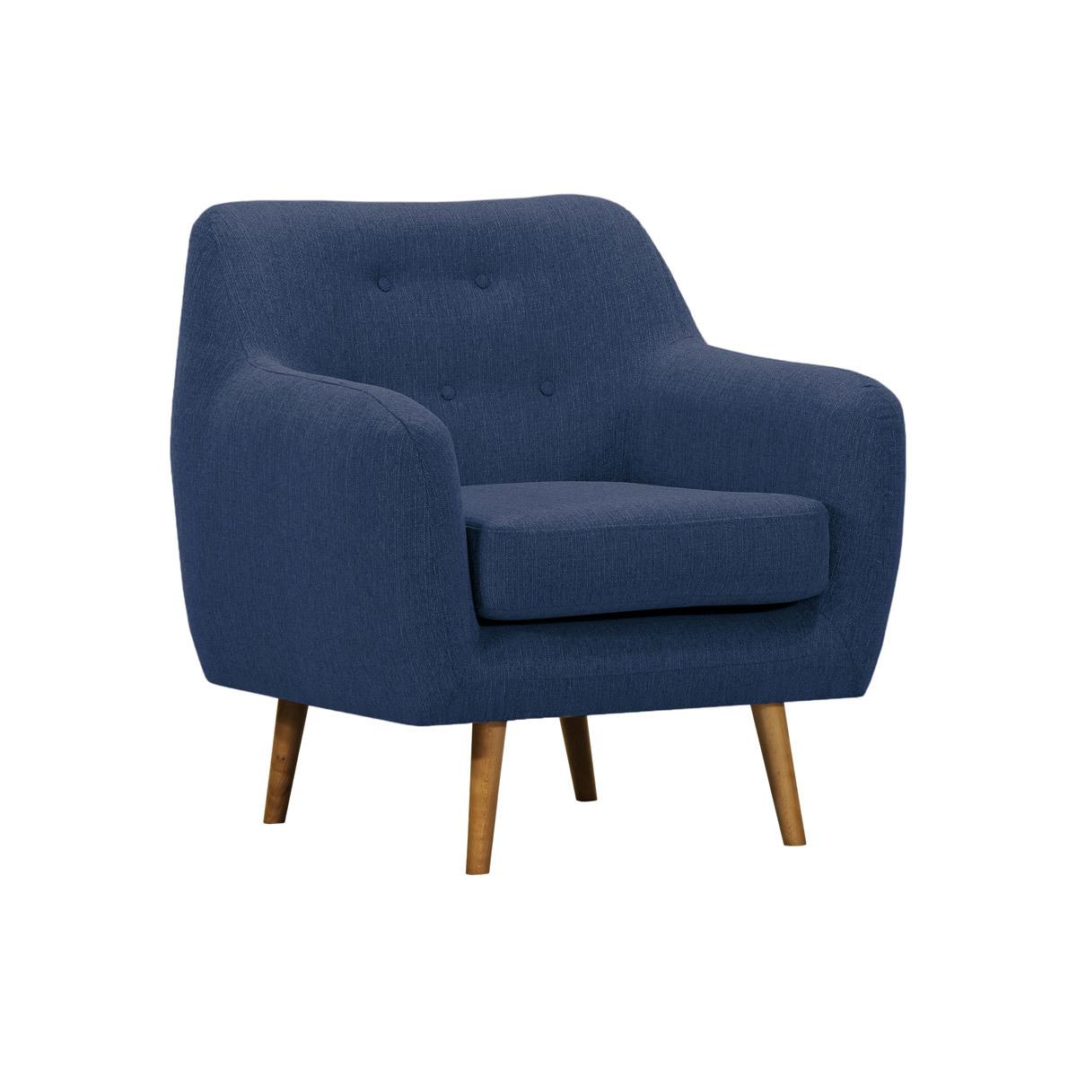 Poltrona design in tessuto blu scuro e legno chiaro OLAF