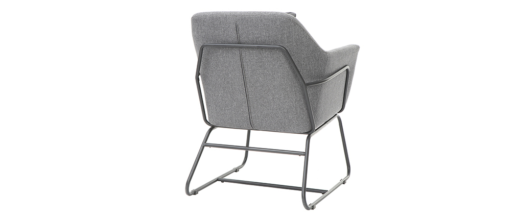 Poltrona design in tessuto di colore grigio scuro e struttura in metallo nero modello MONROE